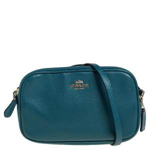 Coach Teal Pebbled Leather Double Zip Crossbody Bag