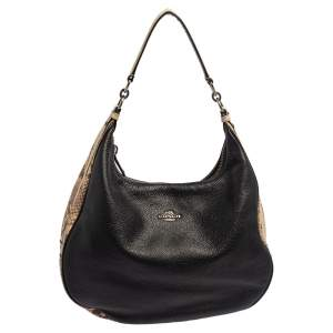 Coach Beige/Black Leather and Python Embossed Leather Harley hobo