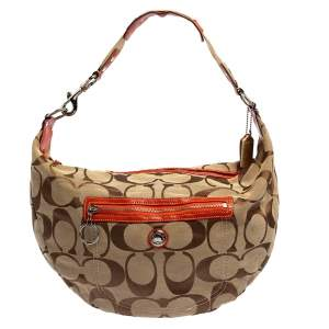 Coach Beige/Orange Signature Canvas and Patent Leather Front Pocket Hobo