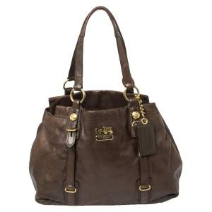 Coach Dark Brown Leather Mia Carryall Tote