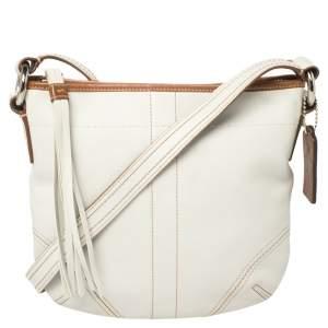 Coach White Leather Small Tassel Crossbody Bag