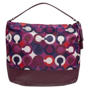 Coach Mulitcolor Op Art Scarf Print Satin and Leather Park Hobo