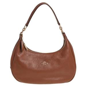 Coach Brown Grained Leather Hobo