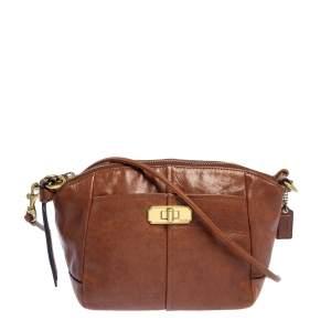 Coach Brown Leather Top Zip Crossbody Bag