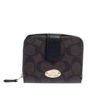 Coach Brown/Black Coated Canvas and Leather Compact Wallet