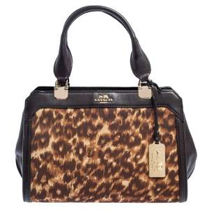 Coach Brown Animal Print Fabric And Leather Satchel