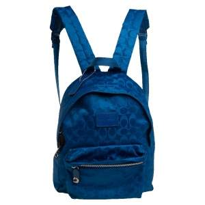Coach Blue Signature Nylon Backpack