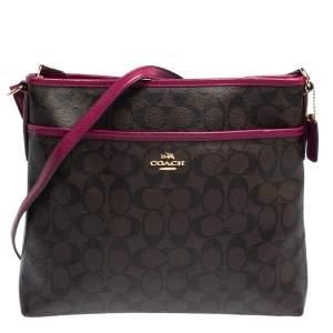 Coach Fuchsia/Brown Signature Coated Canvas and Leather Crossbody Bag