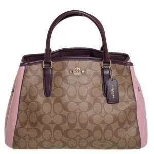 Coach Multicolor Signature Coated Canvas and Leather Sage Carryall Satchel