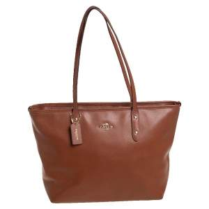 Coach Brown Leather City Zip Tote