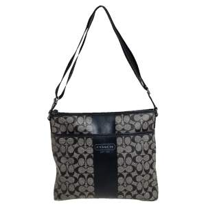 Coach Black Signature Coated Canvas and Leather Heritage Messenger Bag