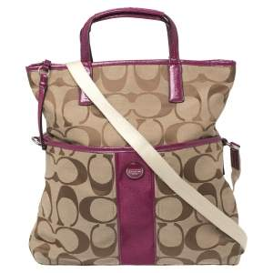 Coach Beige/Pink Canvas And Patent Leather Signature Stripe Foldover Tote
