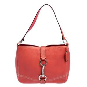 Coach Coral Red Leather Hobo