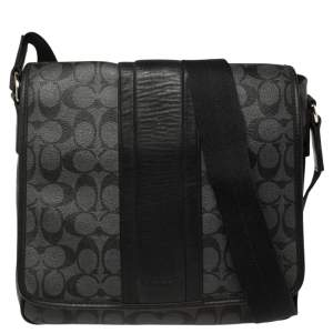 Coach Black/Grey Coated Canvas and Leather Messenger Bag