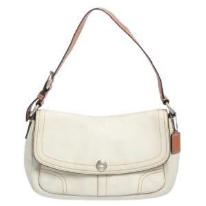 Coach White Leather Flap Shoulder Bag