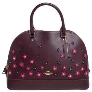 Coach Purple Floral Leather Sierra Satchel
