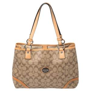 Coach Tan/Brown Signature Coated Canvas and Leather Trim Peyton Tote