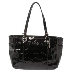 Coach Black Patent Leather East West Gallery Tote