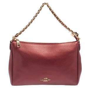 Coach Burgundy Leather Chain Crossbody Bag