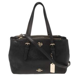 Coach Black Leather Small Turnlock Double Zip Convertible Tote