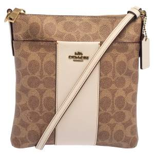 Coach Beige/Pink Signature Coated Canvas and Leather Kitt Messenger Bag