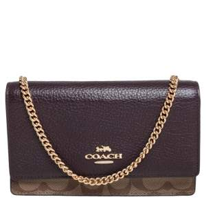 Coach Multicolor Signature Leather, Coated Canvas and Python Effect Leather Chain Belt Bag