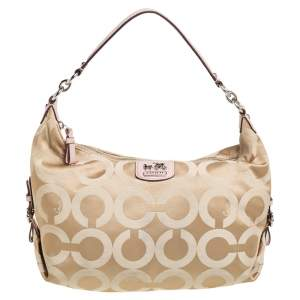 Coach Beige/Pink Fabric And Leather Madison Op Art Hailey Hobo