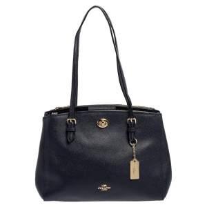 Coach Navy Blue Leather Carryall Satchel