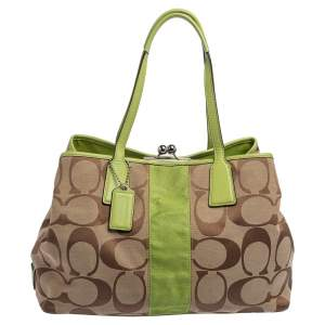 Coach Beige/Green Signature Canvas and Leather  Kisslock Framed Carryall Tote
