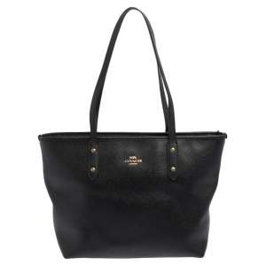 Coach Black Textured Leather Reversible City Tote