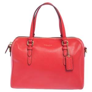 Coach Red Leather Boston Bag