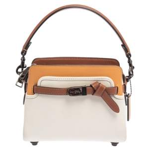 Coach Tri Color Leather Tate 18 Carryall Crossbody Bag