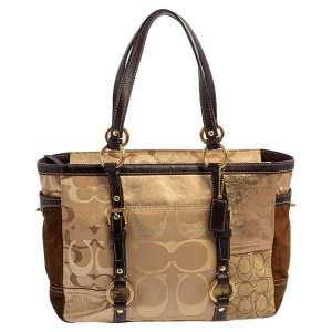 Coach Gold Signature Canvas, Suede and Leather Patchwork Tote