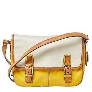 Coach Yellow/White Leather Park Crossbody Bag
