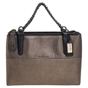 Coach Black/Gold Textured Leather Chain Tote