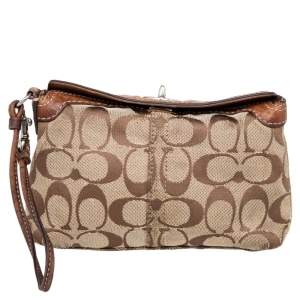 Coach Brown Signature Canvas and Leather Turnlock Wristlet
