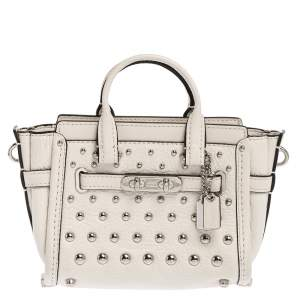 Coach White Leather Mini Swagger Studded Tote