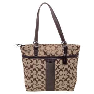 Coach Brown /Beige Canvas And Patent Leather Top Zip Tote