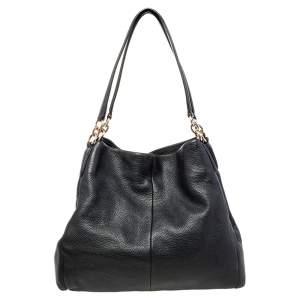 Coach Black Leather Edie Shoulder Bag