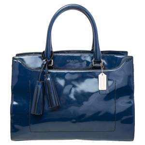 Coach Blue Patent Leather Frame Tote