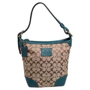 حقيبة هوبو كوتش كانفاس بالشعار بيج/أزرق مخضر