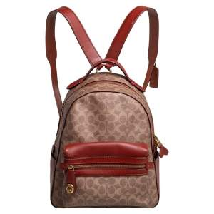 Coach Beige/Brown Signature Coated Canvas and Leather Campus Backpack