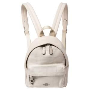 Coach White Leather Mini Charlie Backpack