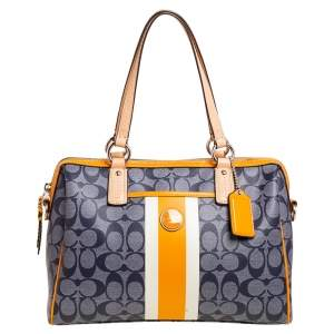 Coach Multicolor Signature Coated Canvas,Patent and Leather Heritage Stripe Satchel