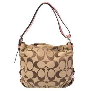 Coach Beige/Peach Signature Canvas and Patent Leather Hobo