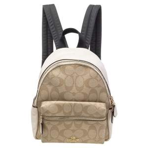 Coach Beige/Cream Signature Coated Canvas And Leather Mini Charlie Backpack