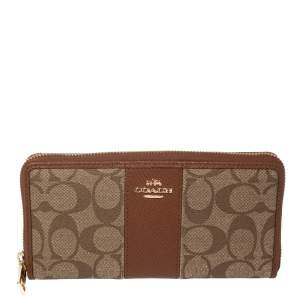Coach Beige/Brown Signature Coated Canvas and Leather Accordion Zip Around Wallet