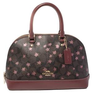 Coach Brown/Red Signature Coated Canvas and Leather Mini Sierra Satchel