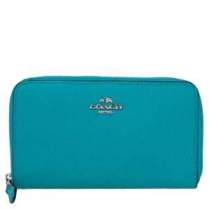 Coach Blue Leather Medium Zip Around Wallet