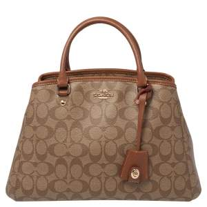 Coach Beige/Tan Signature Coated Canvas and Leather Carryall Satchel